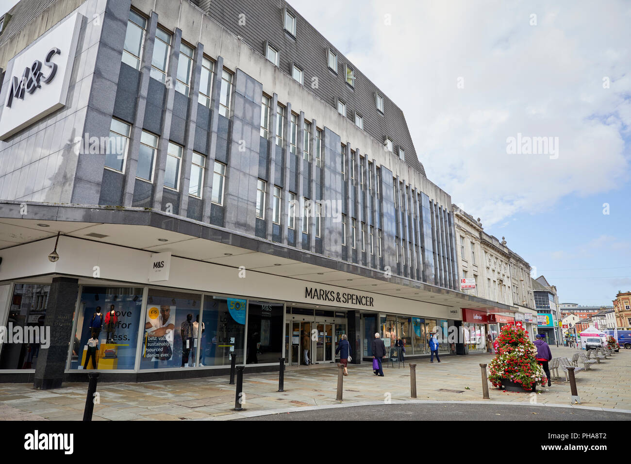 lancashire landmark modernist shop on Deansgate in Bolton town centre housing Marks and Spencer's M&S - Stock Image