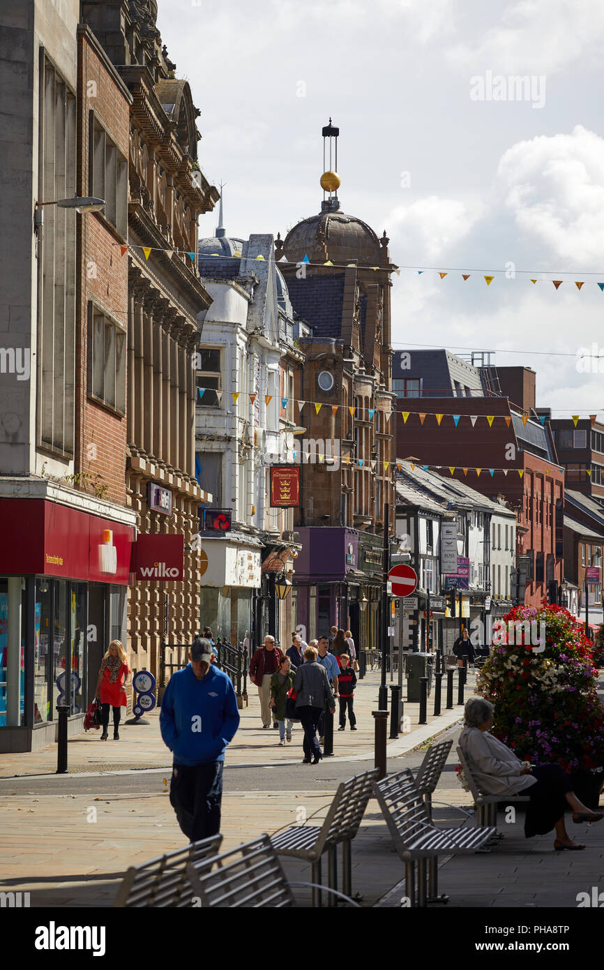 Deansgate the main shopping area in Bolton town centre Lancashire - Stock Image
