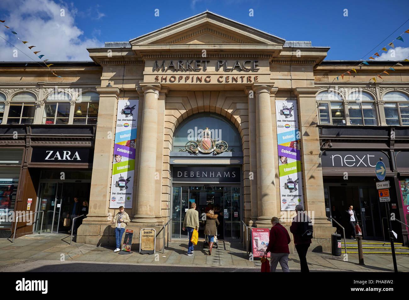 Bolton town centre Lancashire landmark Market Place Shopping Centre sandstone entrance - Stock Image