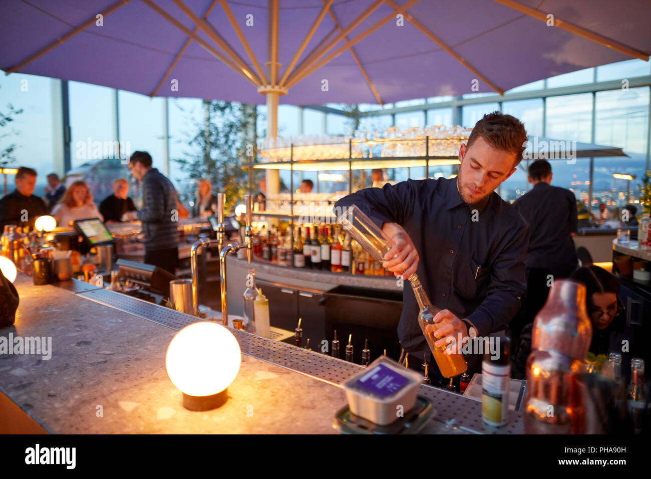 Situated 19th floor No.1 Spinningfields, 20 Stories glamorous restaurant lively bar expansive rooftop terrace unparalleled 360 degree views  Mancheste - Stock Image