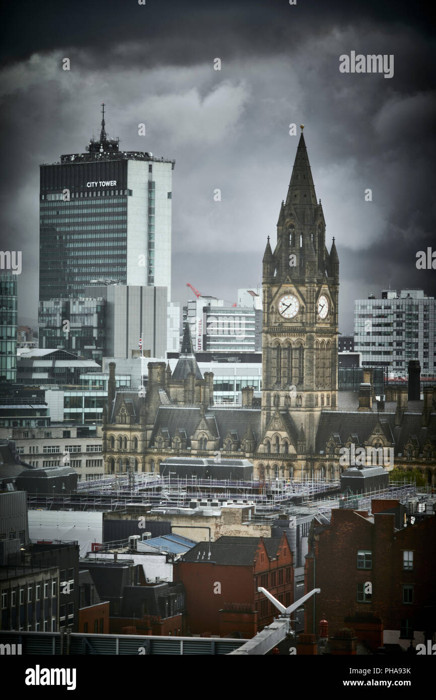Manchester city centre skyline view from Spinningfields, 20 Stories, showing  Town hall and beyond to Piccadilly City Tower - Stock Image