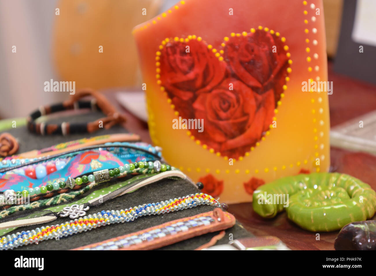 Colorful jewelery - fashion accessory close-up - Stock Image