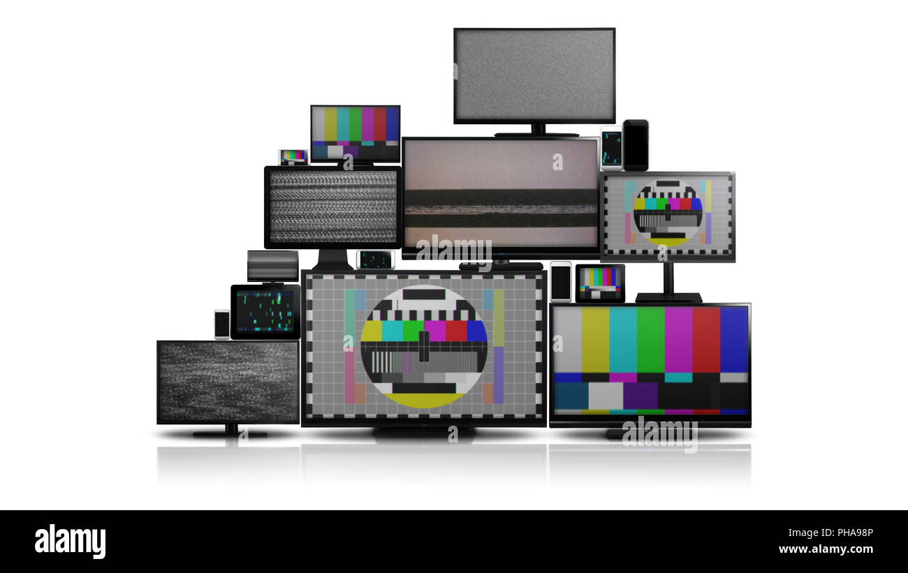 Many different types of screens with no signal - Stock Image