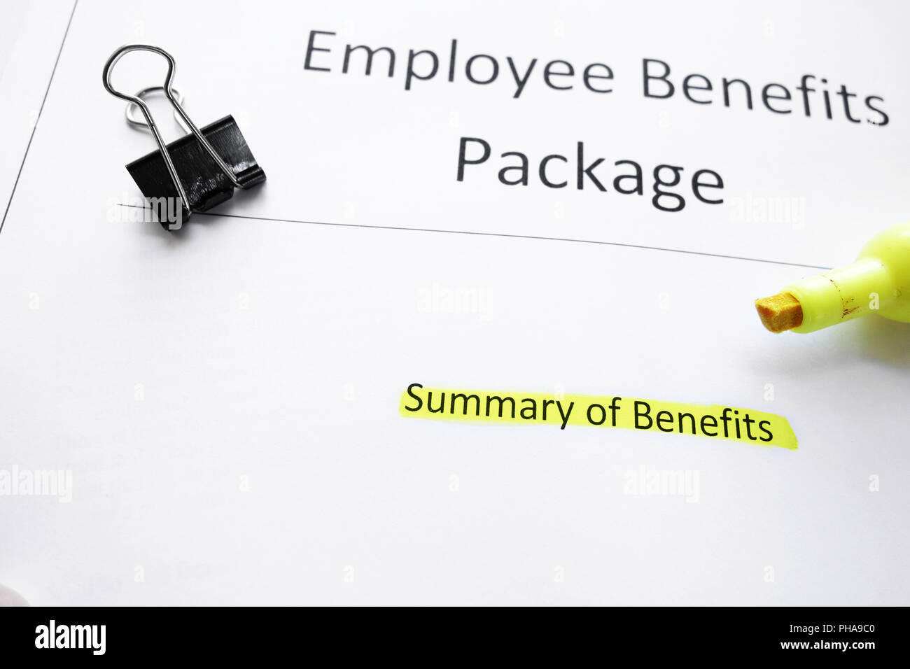benefits package - Stock Image