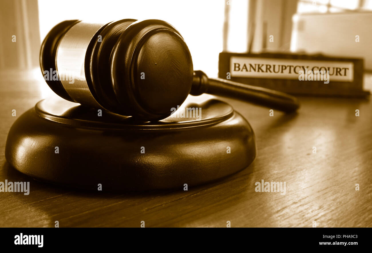 Bankruptcy court gavel - Stock Image