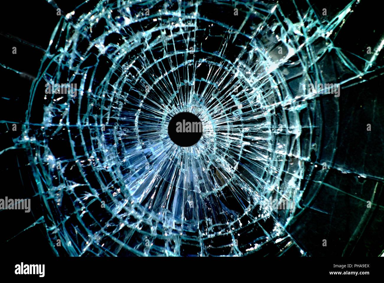 Bullet hole window - Stock Image