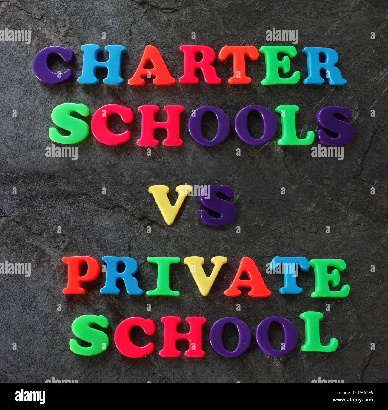 Charter vs Private school concept - Stock Image