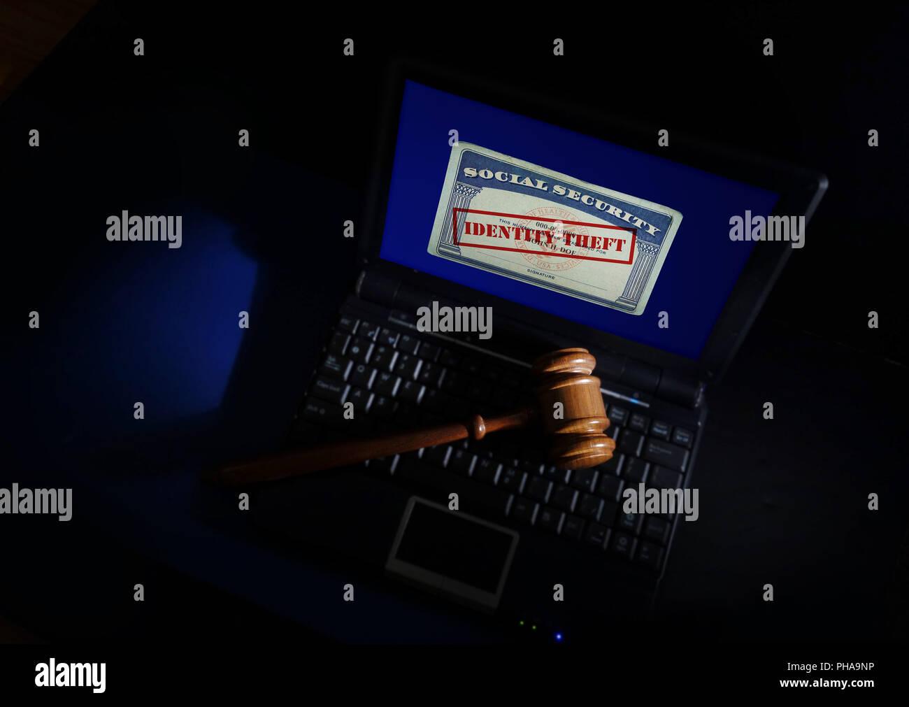 Gavel on Identity Theft card - Stock Image
