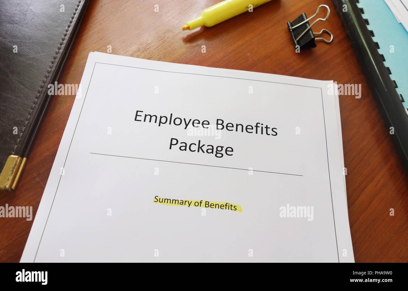 Employee Benefits Package - Stock Image