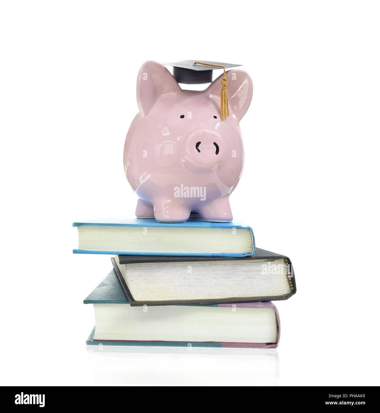 books and piggy - Stock Image