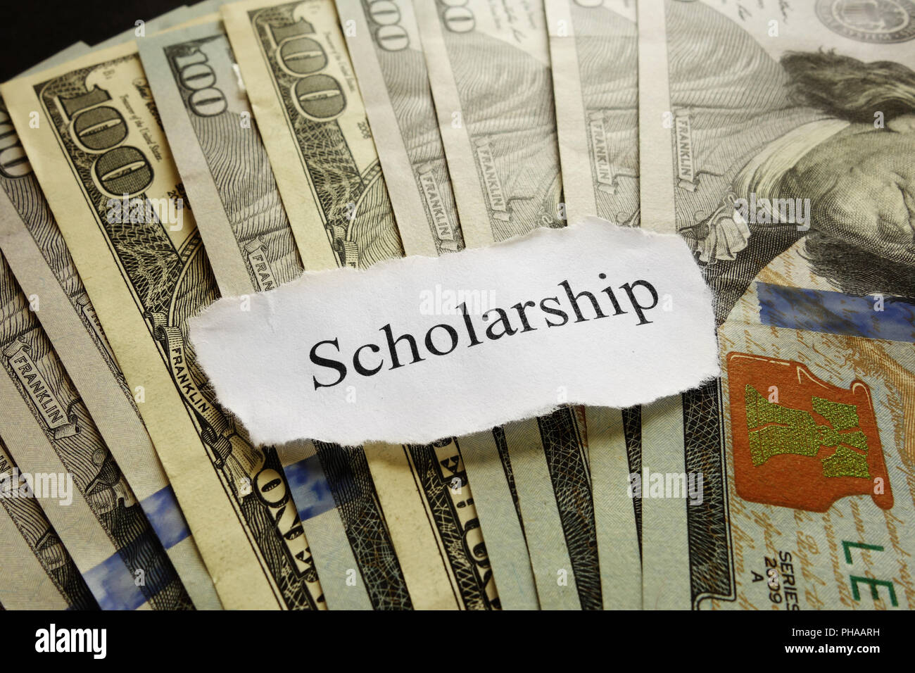 Scholarship paper note - Stock Image
