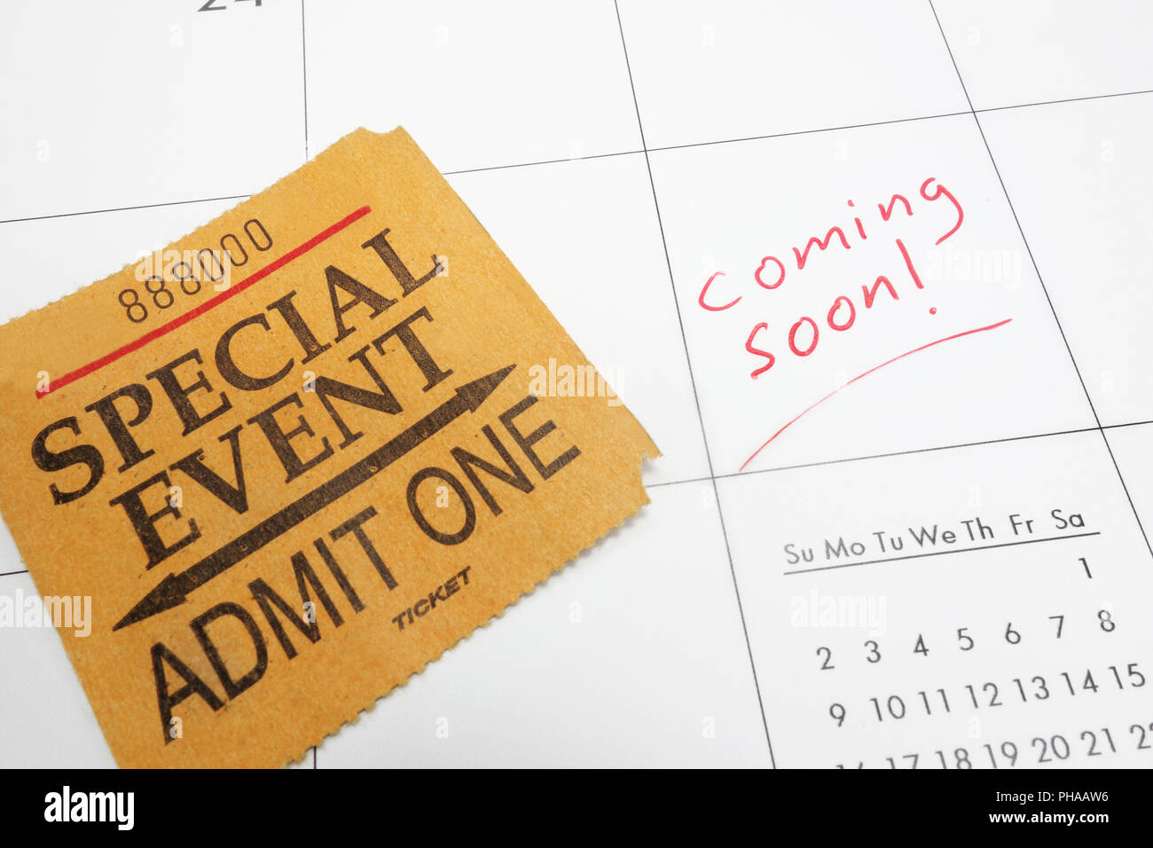 coming soon ticket - Stock Image