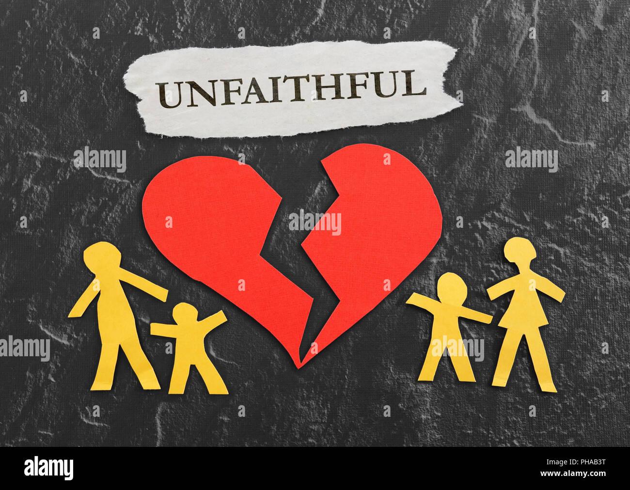 Red Unfaithful heart - Stock Image