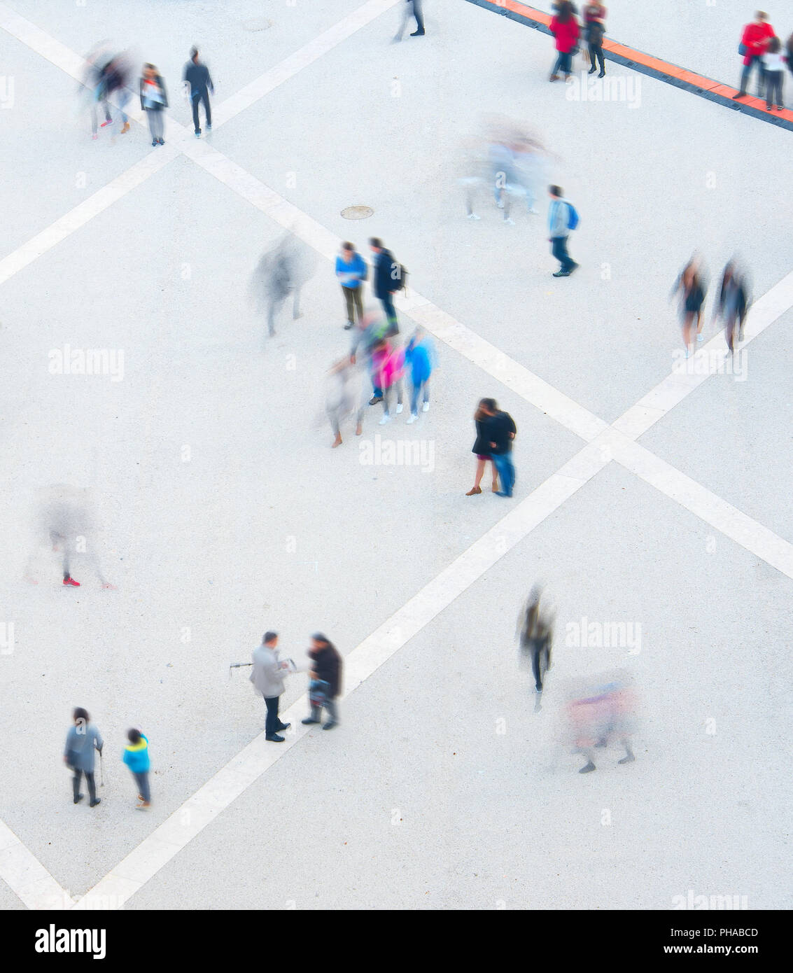 People motion blur, aerial view - Stock Image