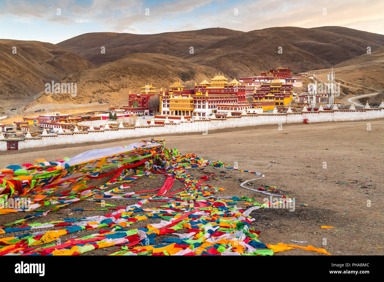 View of Tibetan Monastery in Litang - Stock Image