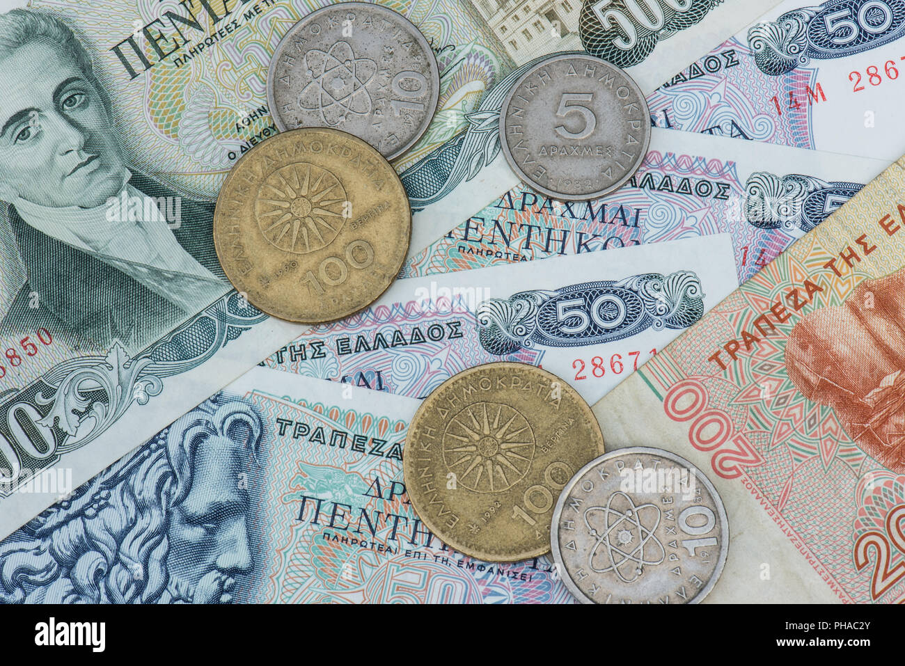 old greek currency Drachme - Stock Image