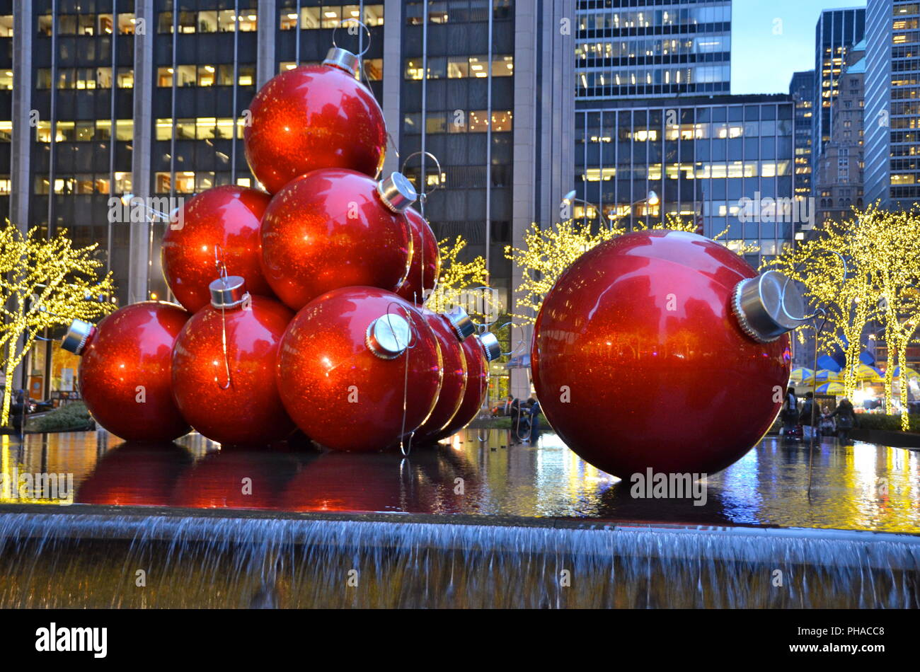 Giant Christmas Ornaments in Midtown Manhattan on December 5, 2014 ...