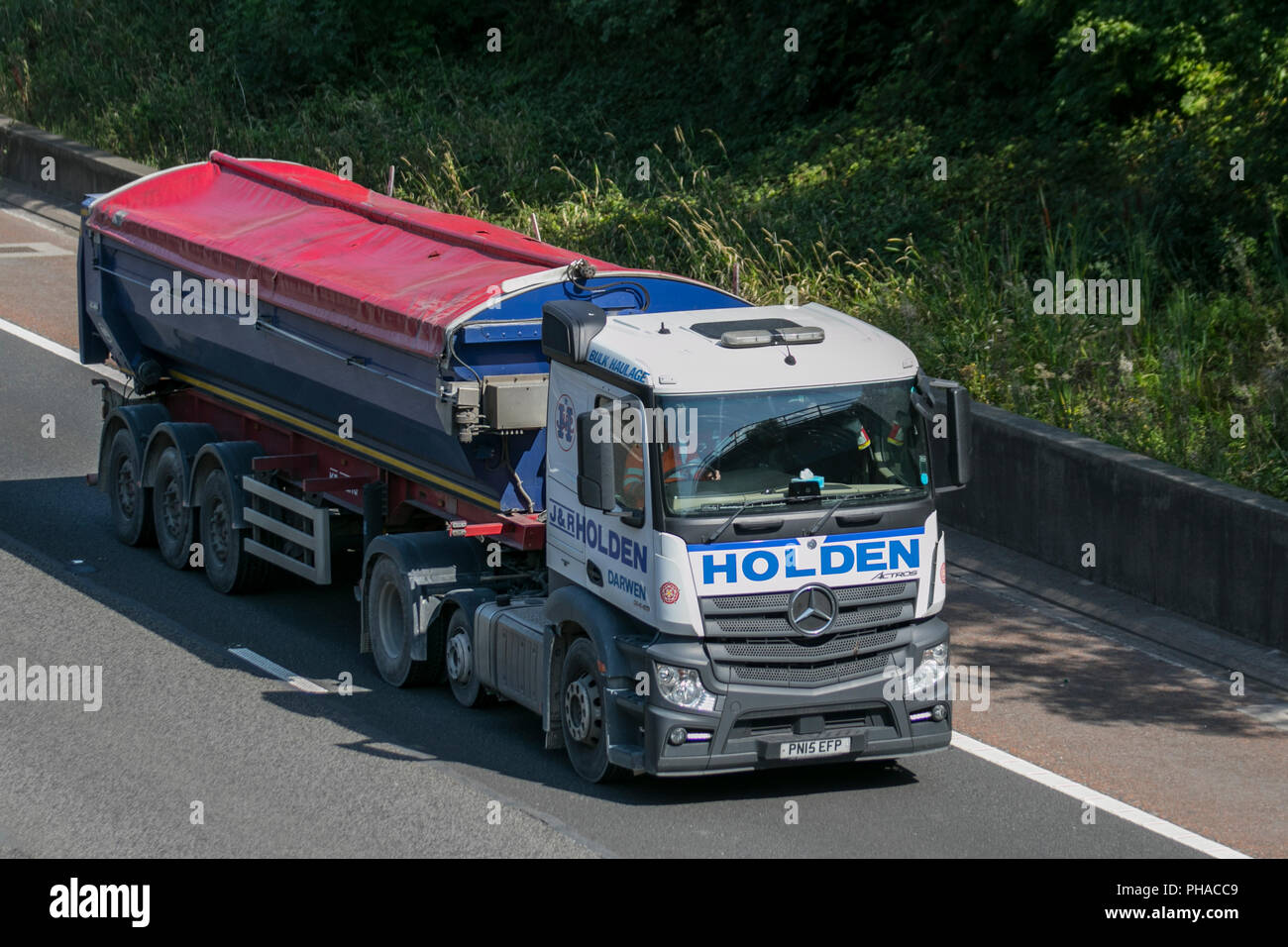 Holden 2015 Mercedes Benz Actros; Heavy Bulk Haulage Delivery Trucks On The  M6 At Lancaster, UK