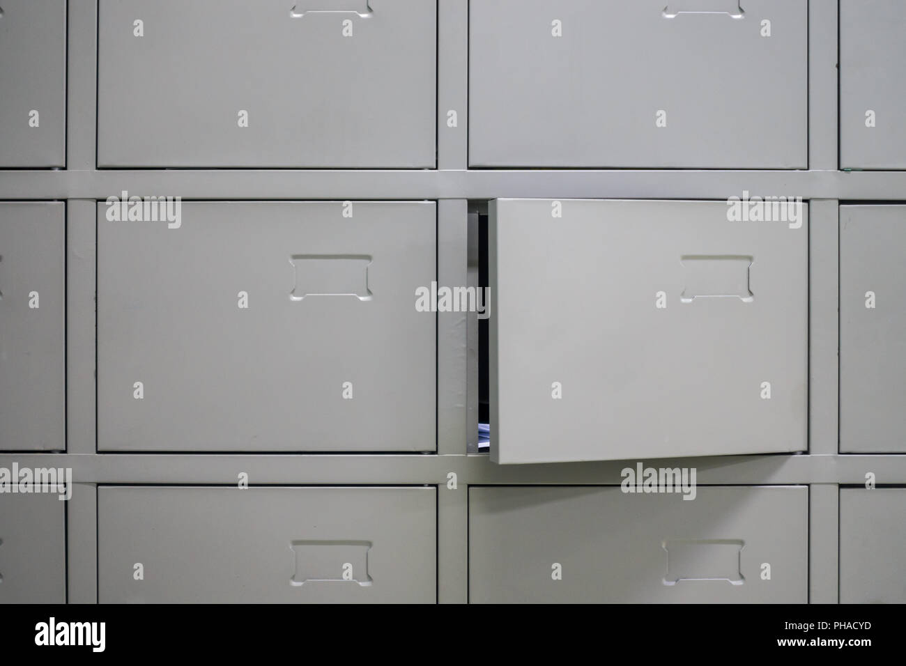 Blank Metal File Cabinets Open Wall Stock Photo