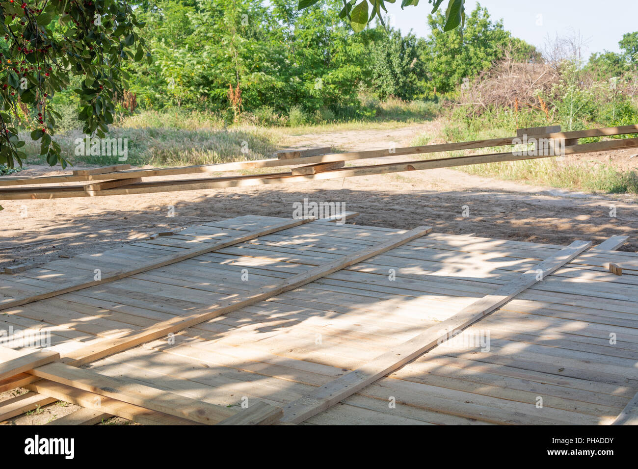 Wooden formworks fence. Formwork for foundation wooden fence. Stock Photo