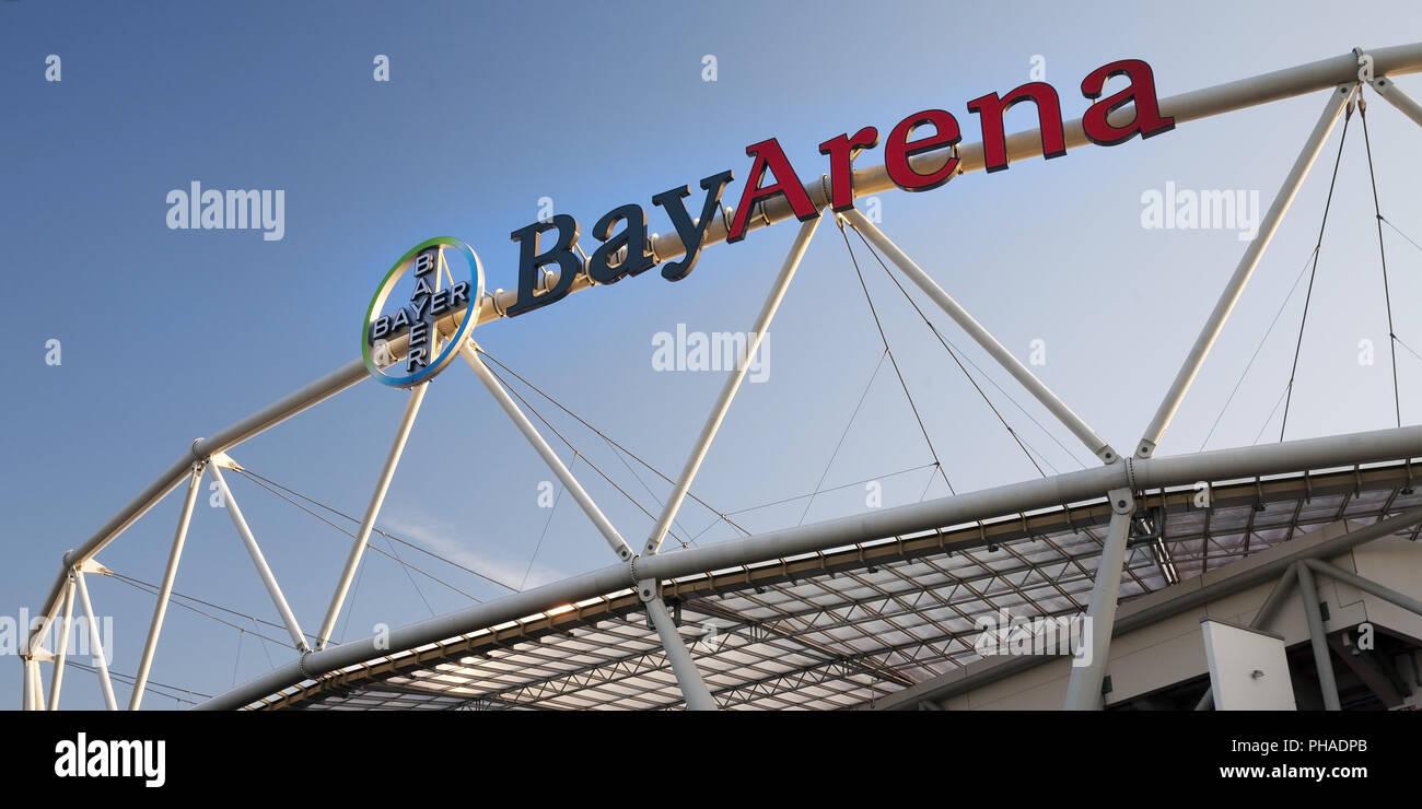 BayArena, football stadium of Bundesliga club Bayer Leverkusen, Leverkusen, Germany, Europe - Stock Image