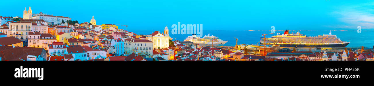 Lisbon Old Twon at twilight, Portugal - Stock Image