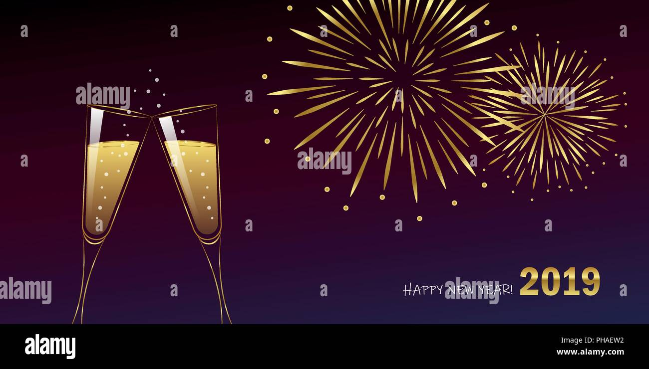 New Year golden fireworks and champagne glasses vector illustration EPS10 - Stock Vector