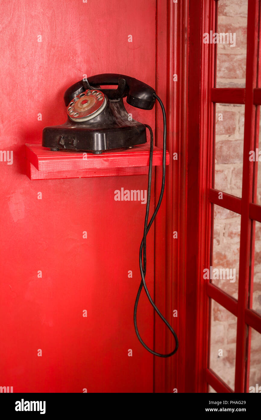 Red Telephone Booth In English Style British Phone Box With Black Wiring Retro Standing It Vintage Looking