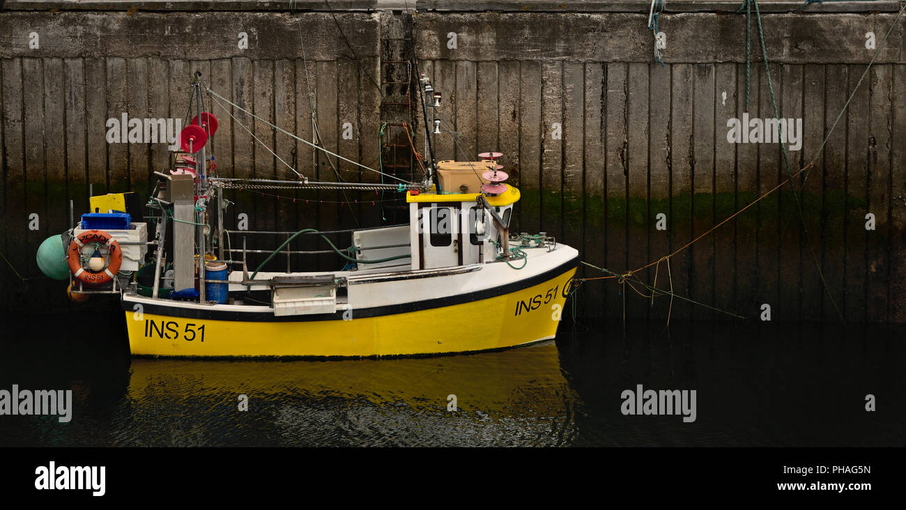 Yellow Ship, Lossiemouth Harbour - Stock Image