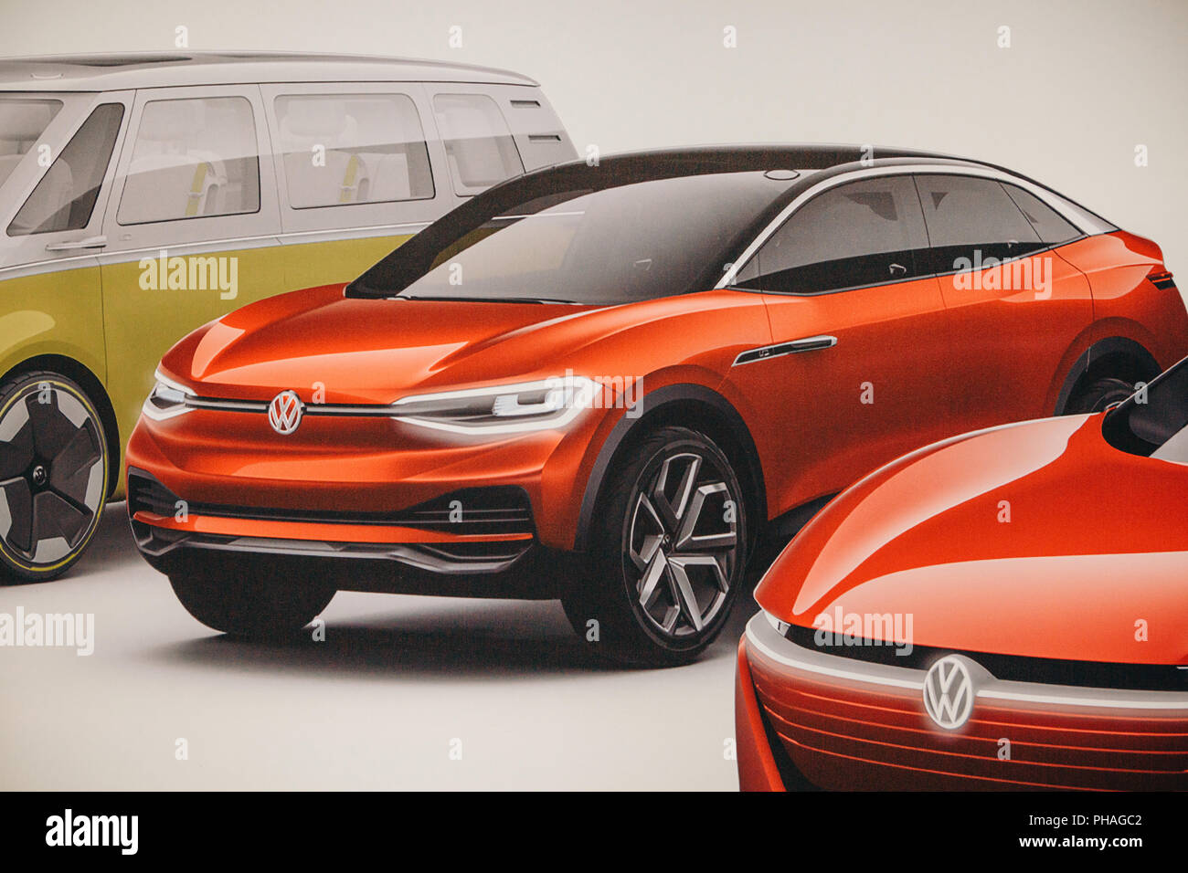 Berlin, August 29, 2018: Photo image of the new concept cars from Volkswagen presented at the official Auto Show Drive - the Volkswagen Group Forum in Berlin. Stock Photo