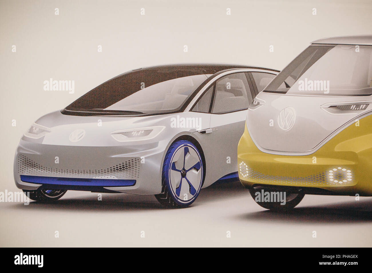 Berlin, August 29, 2018: Photo image of the new concept cars from Volkswagen presented at the official Auto Show Drive - the Volkswagen Group Forum in Berlin. - Stock Image