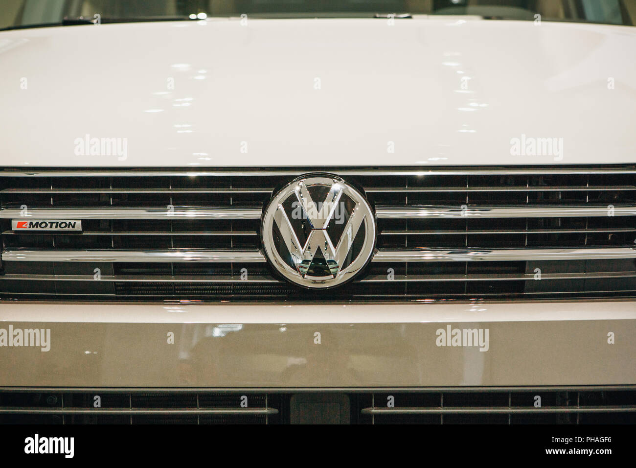 Berlin, August 29, 2018: Close-up sign VW on new Volkswagen multivan presented at the official Auto Show Drive - Volkswagen Group Forum in Berlin. - Stock Image