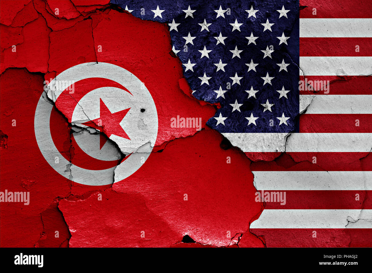 Flags Of Tunisia And Usa Painted On Cracked Wall Stock Photo Alamy