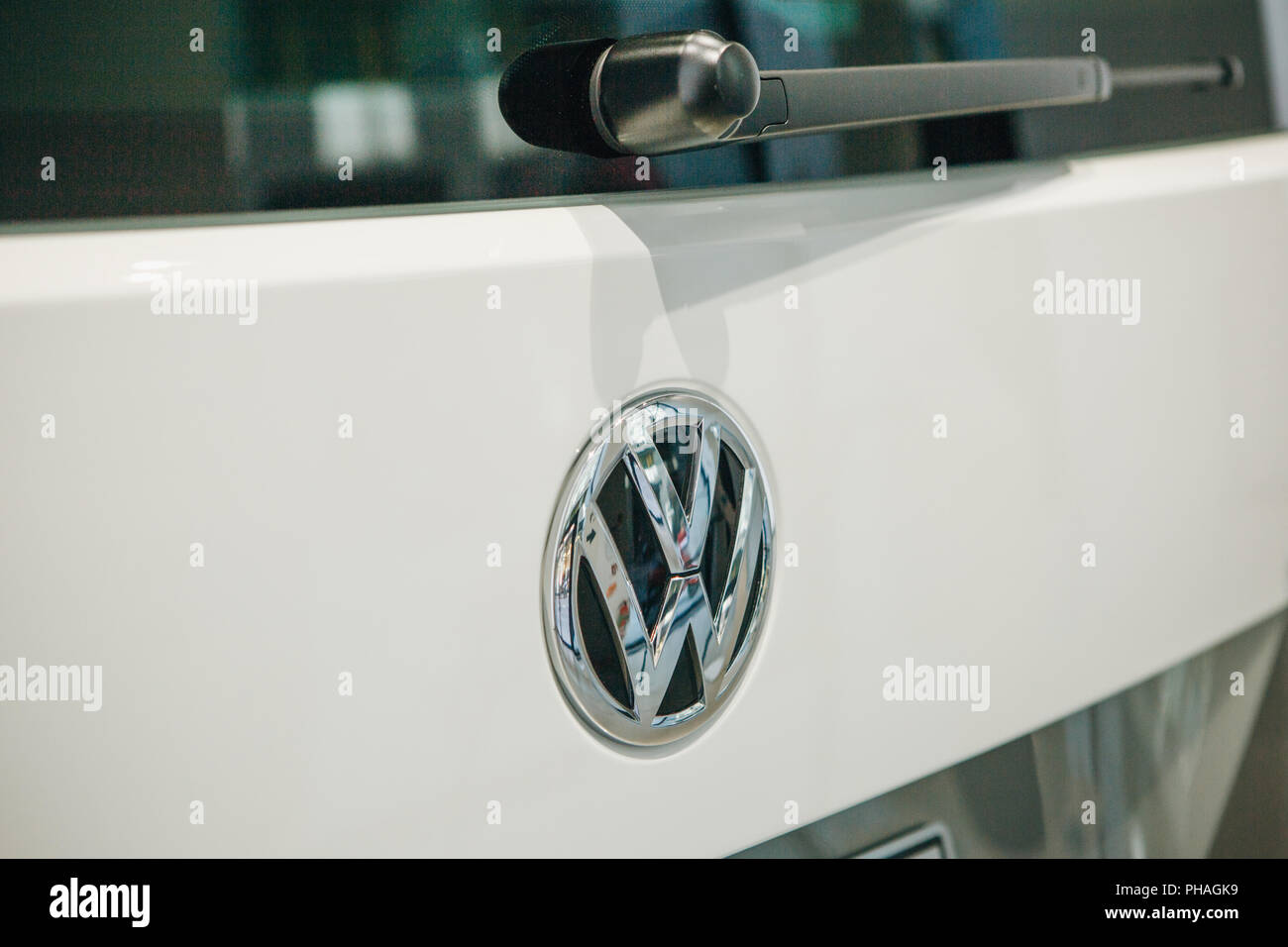 Berlin, August 29, 2018: Close-up sign VW on new Volkswagen