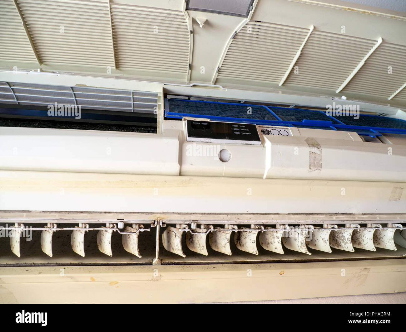 close up mold in air conditioner system. Danger and the cause of pneumonia and respiratory diseases in house or office. air condition must clean evern - Stock Image