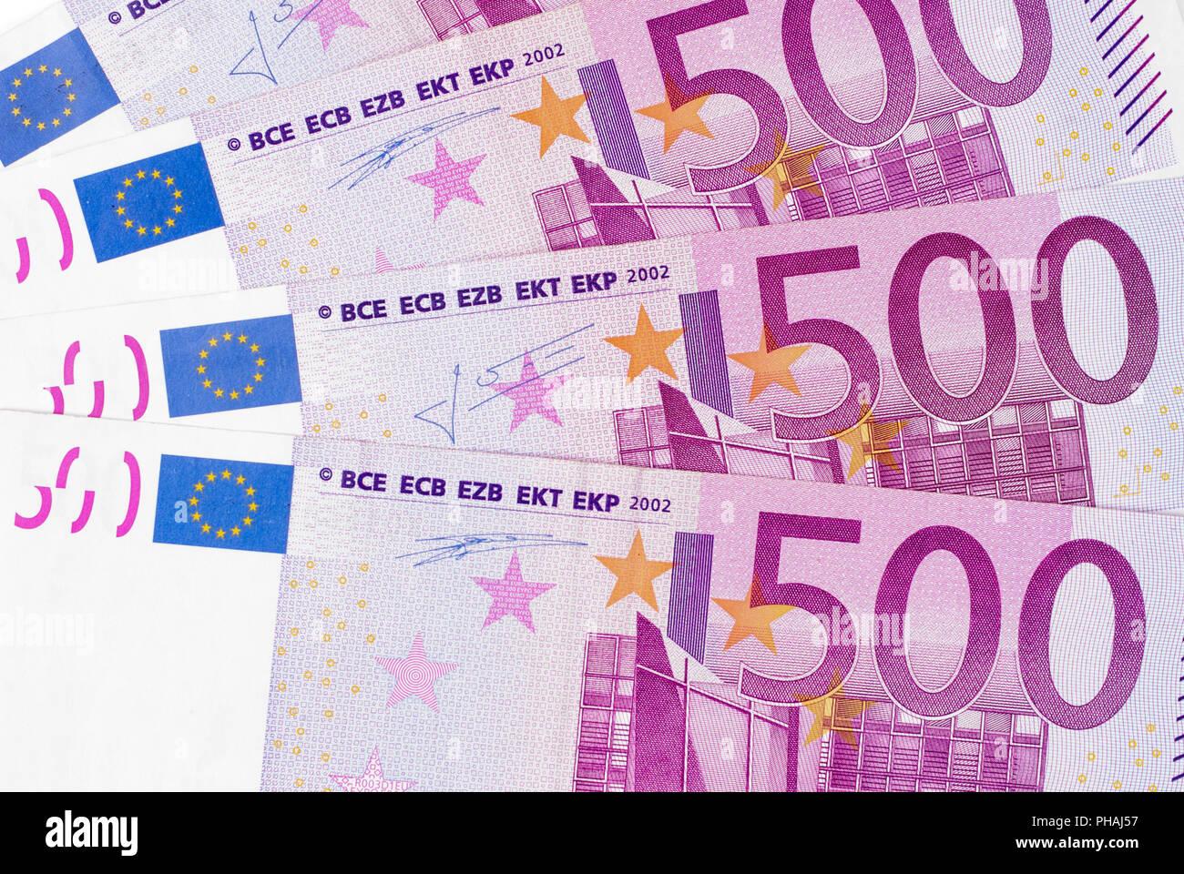 Europen 500 paper money euro Background - Stock Image