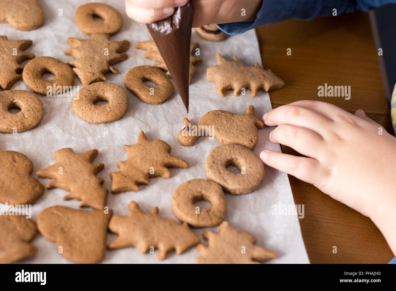 Boy decorating gingerbread cookies with chocolate - Stock Image