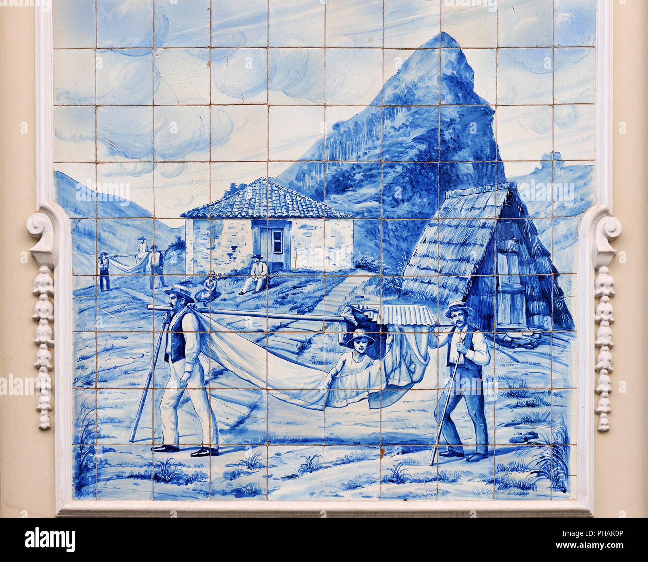 Traditional blue tiles (Azulejos) in Funchal. Madeira, Portugal - Stock Image