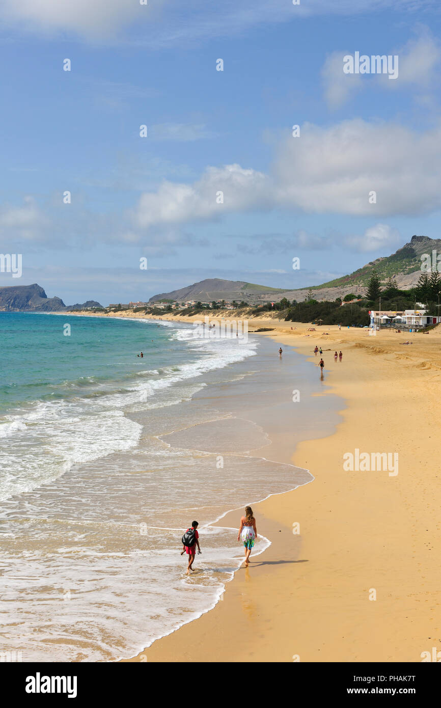 The beautiful golden sandy beach of Porto Santo island, 9 km long. Madeira, Portugal - Stock Image