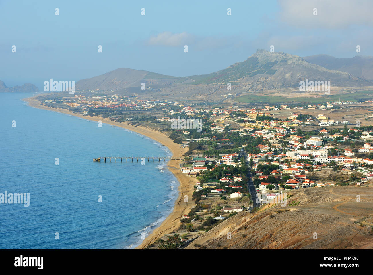 Vila Baleira, capital city of Porto Santo island. Madeira, Portugal - Stock Image