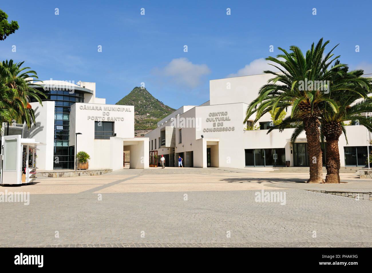 Modern architecture (Town Hall) of Vila Baleira. Porto Santo island, Madeira. Portugal Stock Photo