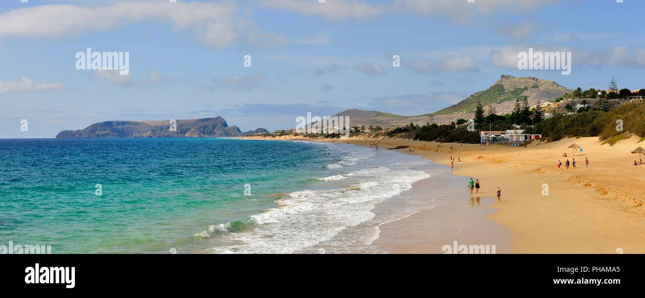 The beautiful golden sandy beach of Porto Santo island, 9 km long. Madeira, Portugal - Stock Image
