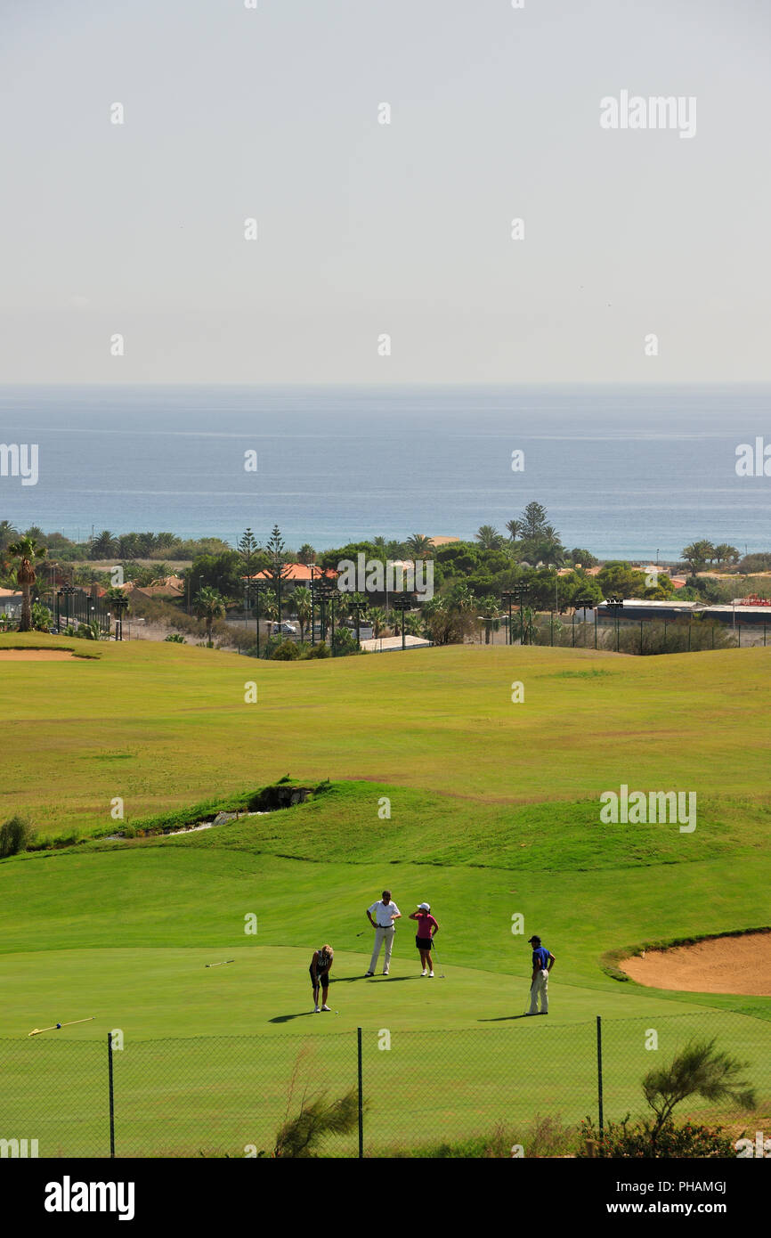 Golf course of Porto Santo island. Madeira, Portugal - Stock Image