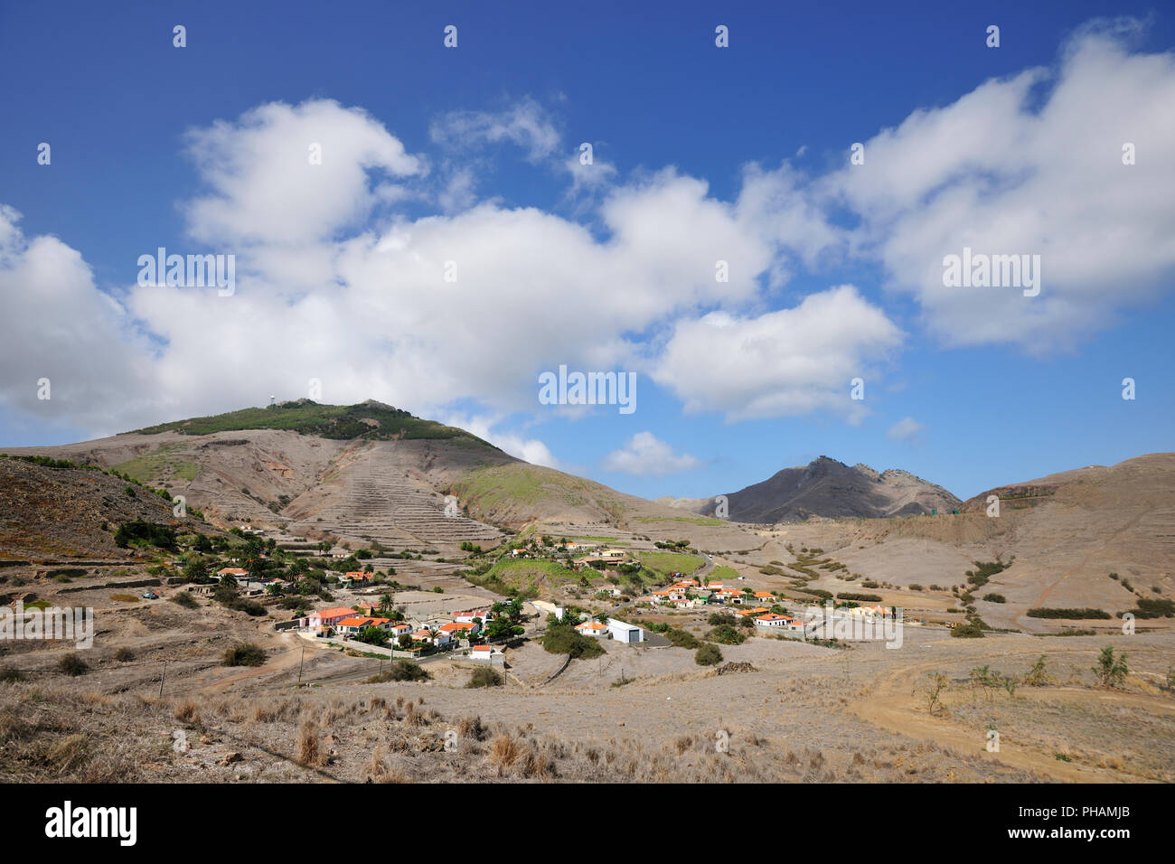 Pico do Facho and Serra de Fora, Porto Santo island. Madeira, Portugal - Stock Image