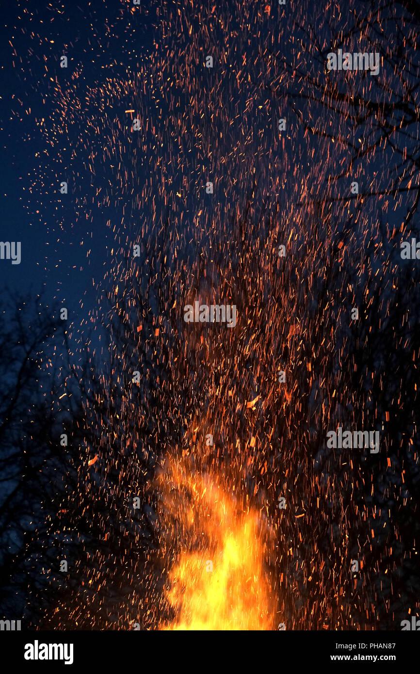 Conflagration, Easter bonfire - Stock Image