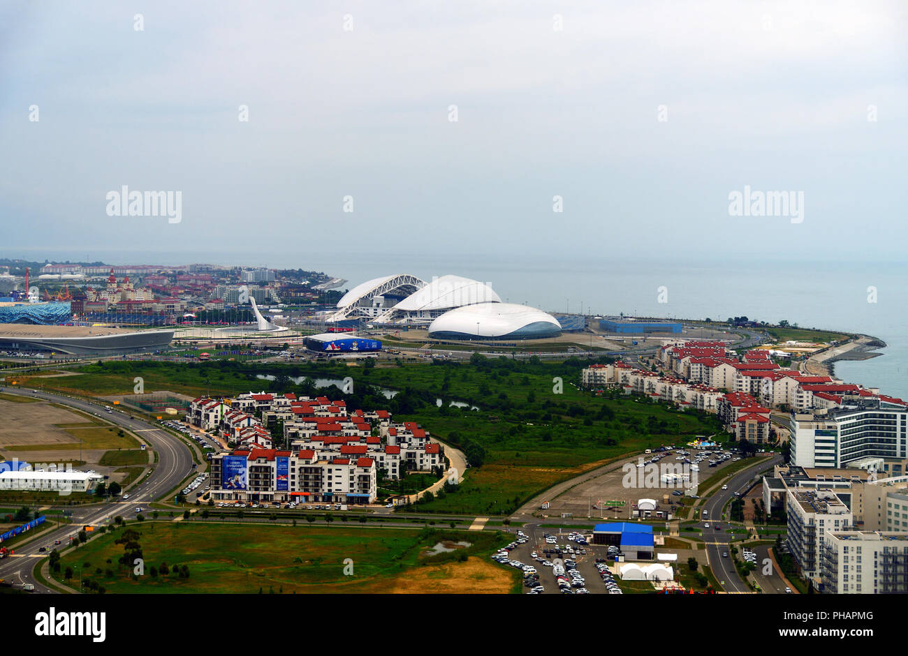 Sochi, Russia - May 29 2018. View from above on Imeretinskaya Bay and the Olympic Park. - Stock Image