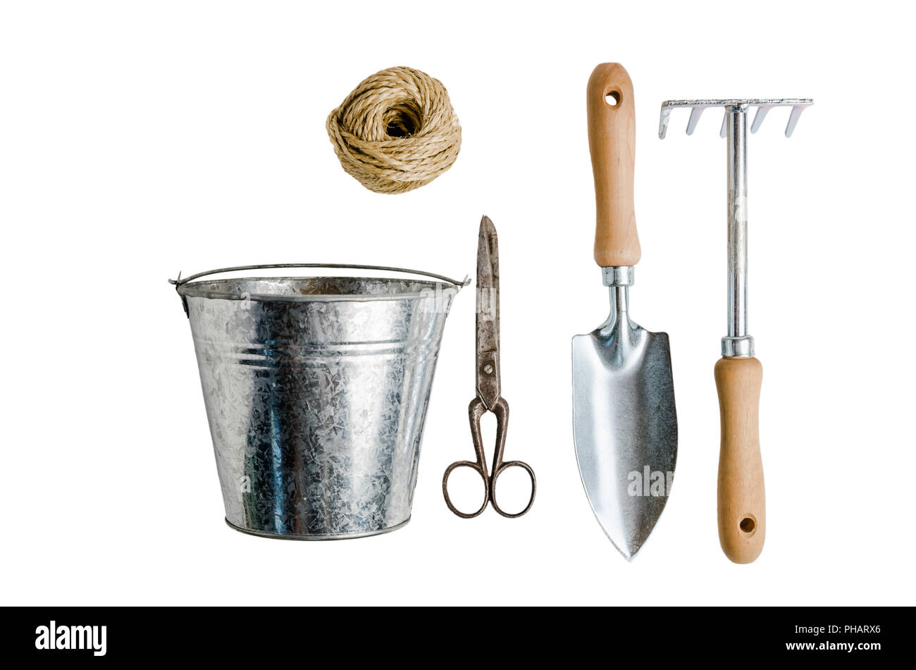 Garden Tools For Planting Isolated On White Stock Photo