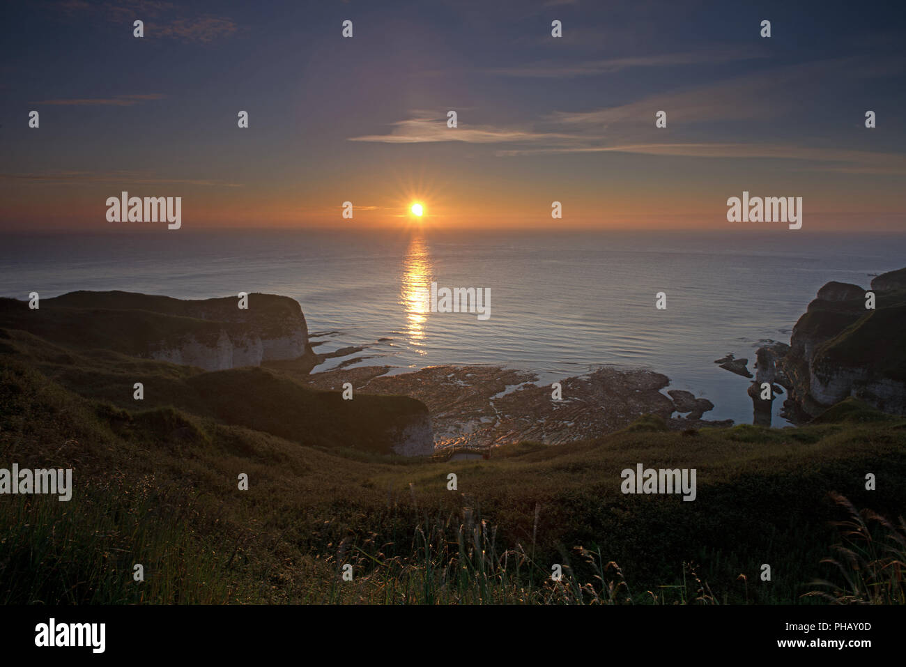 Flamborough Head at sunrise. Bridlington, Yorkshire, England, Uk, Gb. - Stock Image