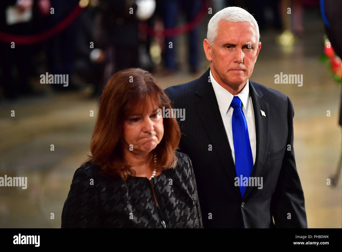 Vice President Of The United States Mike Pence And Wife Karen Pence View The Casket Of Former Senator John Mccain In The Capitol Rotunda Where He Will Lie In State At The