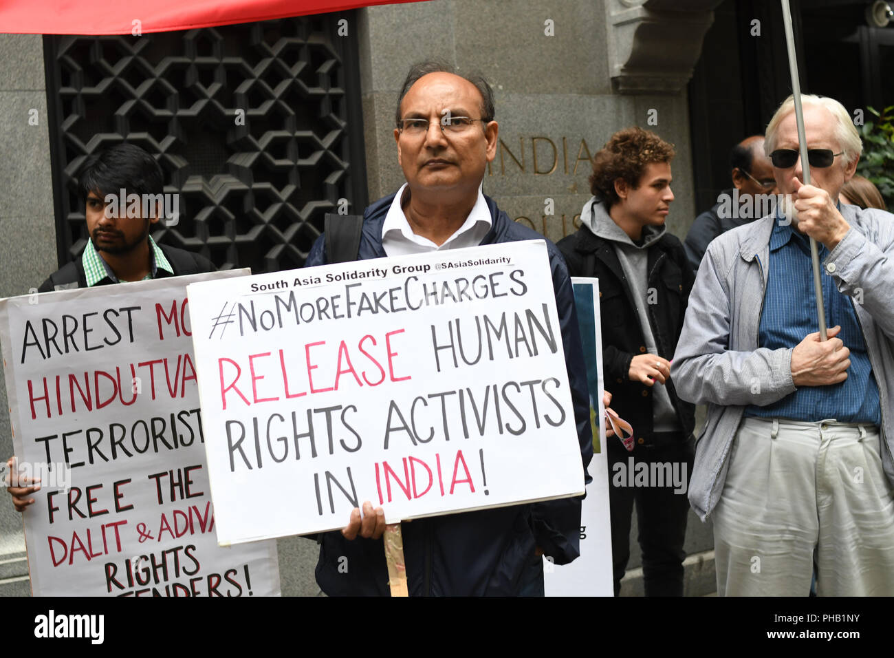 London, UK. 31st August 2018. South Asia Solidarity Group host a Urgent London Protest against Modi regime unleashed a massive witchhunt against a whole range of dissenting voices targeting some of India's most credible and respected human rights with false allegations Credit: Picture Capital/Alamy Live News - Stock Image